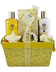 Gloss! Luxurious Corbeille de Bain Body Vanille/Tilleul 6 Pièces, Coffret Cadeau-Coffret de bain