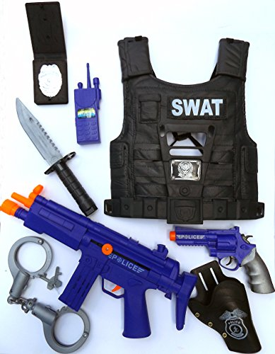 Brigamo 47355 - ⚉ Kinder SWAT Polizei Kostüm, Polizei Uniform perfekt für Fasching, Karneval oder Halloween ⚉ (Polizei Kostüm Kind)