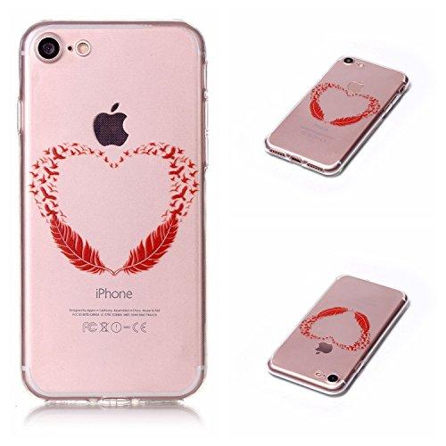 Qiaogle Téléphone Coque - Soft TPU Silicone Housse Coque Etui Case Cover pour Apple iPhone 7 (4.7 Pouce) - LF09 / Smile LF11 / Rouge Feathers
