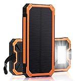 Caricabatteria solare, Solar Power Bank 12000mAh batteria di backup esterna, caricabatterie dual usb pannello solare con luce 2LED moschettone Bussola portatile per Emergenza Campeggio travel-orange