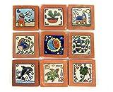 9 mediterrane Relief-Fliesen 5x5 cm mit Motive Leuchtturm, Sonne, Mond, Kirche, Segelschiff und Blumentopf - wie abgebildet. Terracotta - nicht frostfest, wunderschön mit leichten Mängeln.