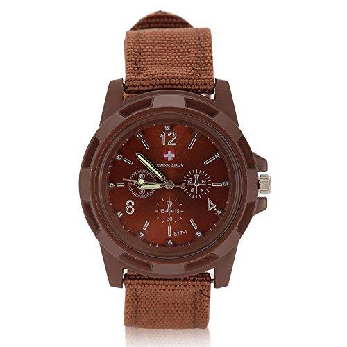 Uhren für Männer, elektronische analoge Armbanduhr Runde Nylonarmband Militär Armbanduhr(Kaffee) -