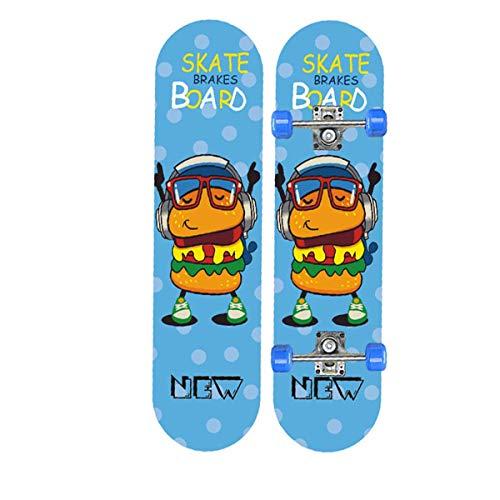 rd Komplett Longboard Double Kick Skateboard Cruiser 8 Lagen Ahorn Deck für Extremsport und Outdoor, 13,72cm ()