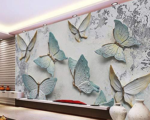 Tapete Nostalgie Zement Wand Schmetterling Reliefs Deko Mural Papel De Parede 3D Tapety 1M2 Tapety - Teal Grau-wand-kunst
