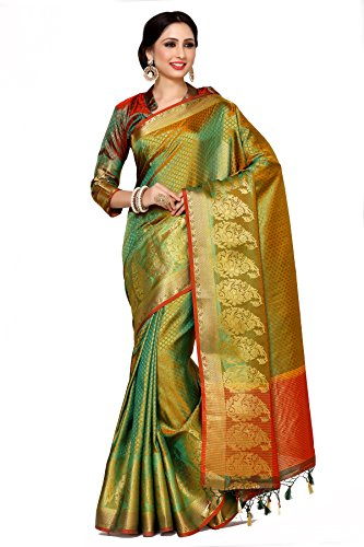 Mimosa By Kupinda Women\'s Art Silk Saree Kanjivaram Style (Latest Designer Sarees /Party wear sarees /New collection sarees Color : Multi (4032-242-GR-2D-GLD-MRN)