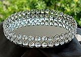 Metall-Tablett mit spiegelnder Oberfläche und Kristall-Perlen für Schmuckablage, Kosmetika