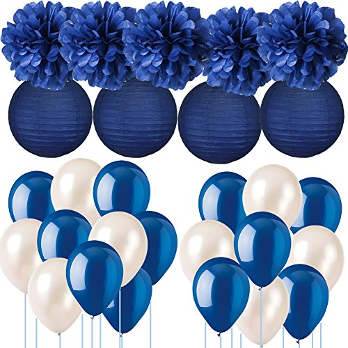 Marineblau Hochzeit Dekorationen Seidenpapier Pompons Papierlaternen mit Luftballons Kit für Birthday Party Abschluss Party Supplies Nautische Party Bachelorette Bridal Shower Party Dekorationen