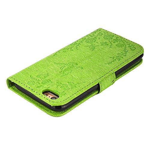 MOONCASE IPhone 5 / 5S / iPhone SE Étui, Fleur Papillon Imprimer Gaufrage Faux Brillant Diamant Strass Bookstyle Housse en Cuir rabat Case avec Porte-cartes Fentes Portefeuille Béquille Magnétique Fer Vert