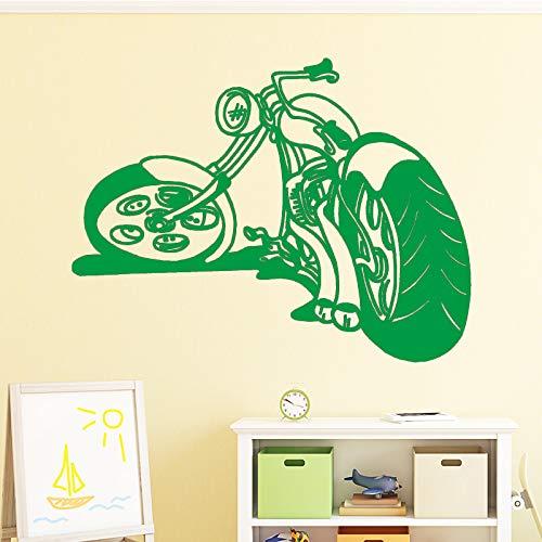 Kühle Motorrad Wandaufkleber Dekoration Zubehör Selbstklebende Wandaufkleber für Wohnzimmer Schlafzimmer Vinyl Wandtattoo grün 58 cm X 76 cm