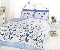 Butterfly Blue Polka Dot Cotton Blend Double (plain Silver Grey Fitted Sheet - 137 X 191cm + 25) 4 Piece Bedding Set