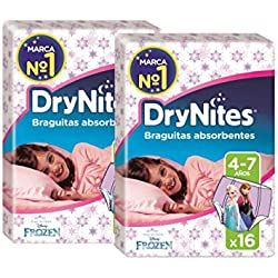Huggies DryNites, 4 - 7 años niña, 2 packs de 16 [32 pañales]