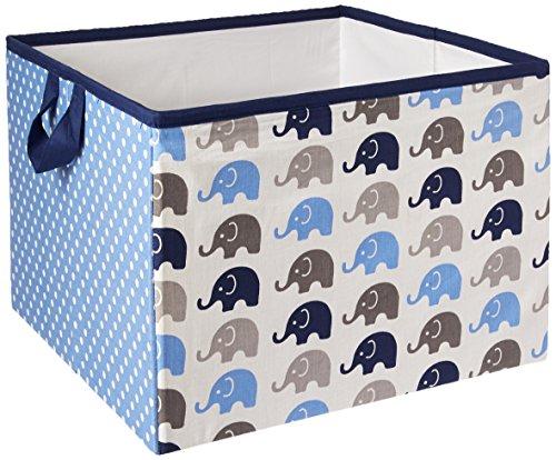 bacati elefantes almacenamiento bolsa cesta, azul/gris, tamaño grande