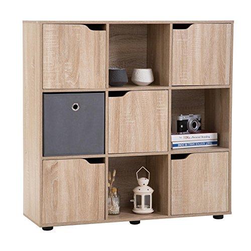CARO-Möbel Bücherregal VERMONT Regal Raumteiler 9 Fächer, davon 5 mit Türen in Sonoma Eiche