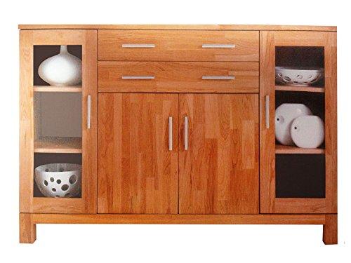 SAM® Highboard Matrix, massiv, zwei Glastüren, zwei Holztüren, zwei Schubladen, viel Stauraum, Eichenholz