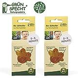 Gruenspecht - Chupete orgánico de caucho natural, 0 - 6 meses, 2 unidades, escudo suave en forma de corazón, forma ortopédica de pino