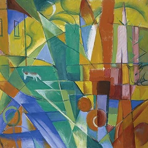 Artland Poster oder Leinwand-Bild fertig aufgespannt auf Keilrahmen mit Motiv Franz Marc Landschaft mit Haus Hund und Rind. 1914. Abstrakte Motive Muster geometrische Formen Malerei Bunt
