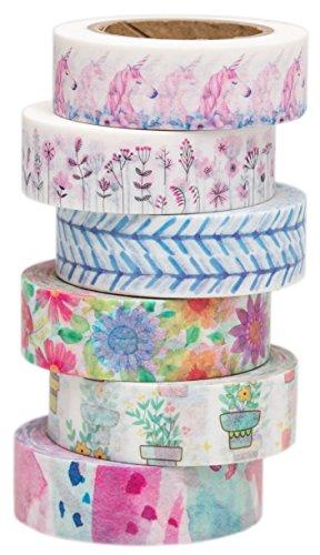 100% Mosel - 6er Washi Masking Tape Set Floral Unicorn - 60 m Dekoband selbstklebend, je 15 mm breit, 6 Tapes | Klebeband