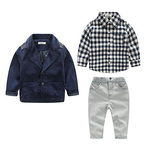 Fanryn Baby Kinder Kinderanzug Jungen Kleider Coat Kleidung kariertes Hemd + Anzug Mantel + Hose Bekleidungsset Kleidung Gentleman Anzug mit Herbst Kleidung des