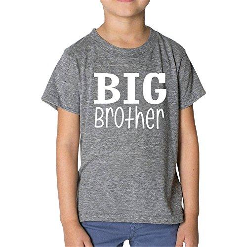 KINDOYO Sommer Passende Brother Kleidung-Jungen T-Shirt & Baby Jungen Strampler mit Big Brother/Little Brother Bedruckt (L, Grau) (Bruder-t-shirts Big-brother-kleiner)