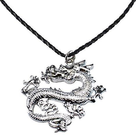Bdj Pendentif Dragon Chinois en acier inoxydable P 'leather Collier 16+ 5,1cm (Dg010)