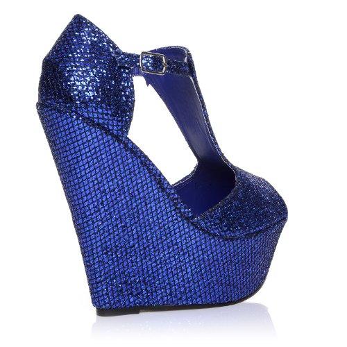Enya scarpe blu glitter con zeppa molto alta e aperte sulla punta Blu glitter