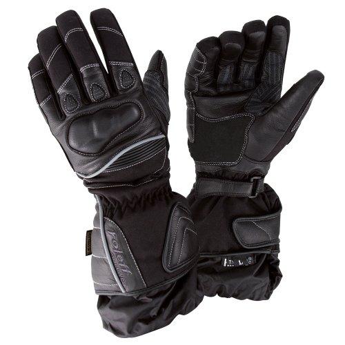 Roleff Racewear Guantes de Cuero, Negro, XL