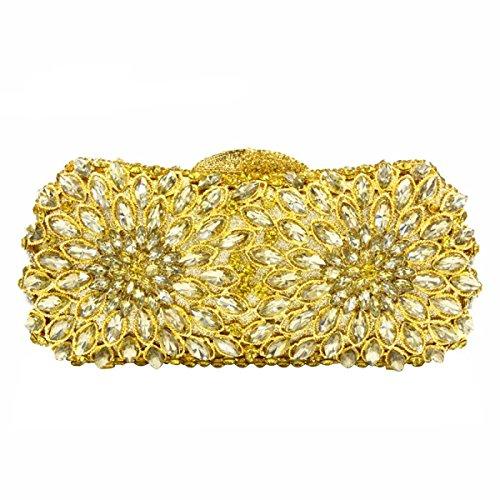 Luxus-Diamant-Abendbeutel Art Und Weise Diamant-Hohl Umhängetasche Frauen Gold