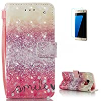 KaseHom Samsung Galaxy S7 Leather Case [Free Screen Protector],Unique Painted Pattern Bling Shiny Diamond Flip Magnetic Wallet Holster Design with [Card Slots] [Lanyard Strap] [Kickstand] Shockproof Folio Protective Cover for Samsung Galaxy S7 - Smile Spa