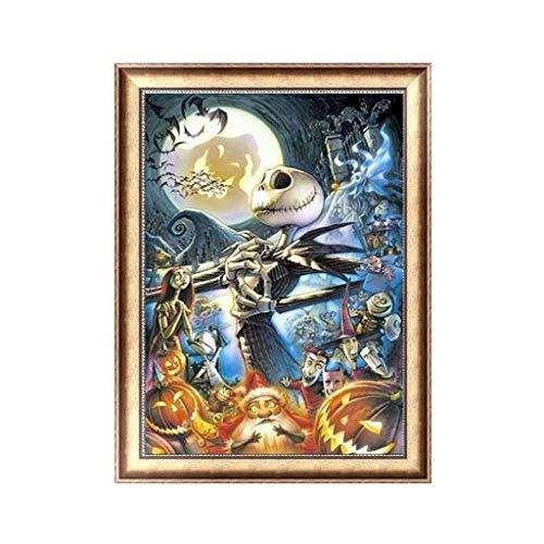(JimTw-FR Halloween Schädel Kürbis 5D Volldiamant-Stickerei, Kreuzstich, Dekoration)