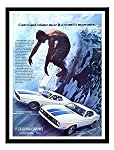 FORD MUSTANG voiture de surf Publicité Impression encadrée 1972Memo Board Magnétique Noir–41x 31cm (environ 40,6x 30,5cm)