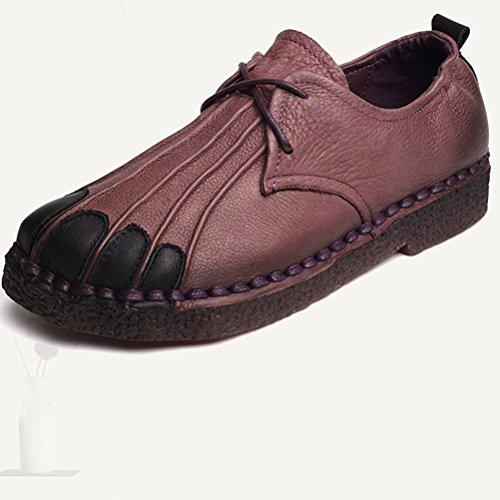Vogstyle Femme Bottines en Cuir Manmade Bottes Basse Lacetes Chaussures Plates Zipé Style-3 Pourpre
