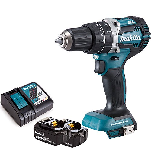 Makita DHP484Z 18V LXT Li-ion Brushless Combi Drill Body With 2 x 4Ah Batteries & Charger