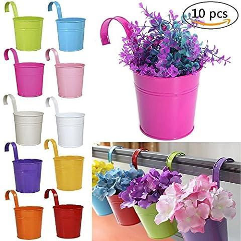 Pot de fleurs à suspendre, assortis 10pcs, coloré, amovible en métal pour pot de fleurs à suspendre sur balcon murale Jardin Home Decor