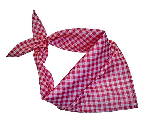 Trachtentuch | Kariertes Nickituch | Dreieckstuch Tracht (Rosa)
