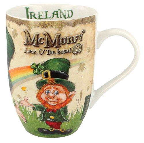 McMurfy Luck O' The Irish Leprechaun Designed Tulip Mug Irish China