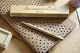 Stylo personnalisé en bois dans coffret avec double gravure. Coffret cadeau idéal anniversaire, personnalisation avec gravure du prénom. Gravé sur mesure.