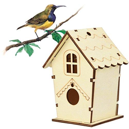 Cloom Kreative DIY Holz Outdoor Vogelhaus Vogel-Nisthaus, Nistkasten, Nisthöhle, Vogelhaus, Vogelhäuschen Für Kleinsingvögel, Ganzjahresnutzung, Landhaus DIY Vogelhäuser Nisthaus Vogelkiste (Khaki)