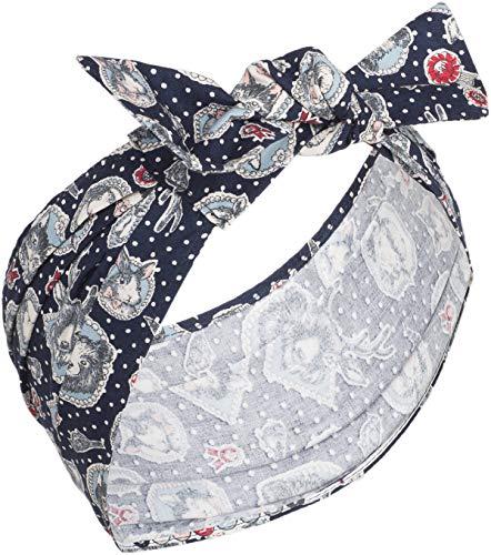 Küstenluder Damen Haarband Laure Märchenfiguren Tuch Länge ca. 80cm, Breite 5cm - 16cm Dunkelblau mit Motiven
