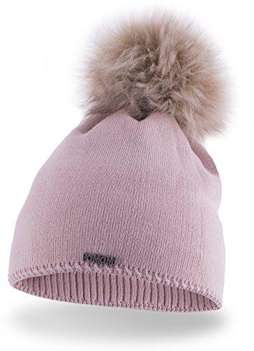 Slouch Beanie für Damen | PaMaMi® 17504 | warme Strickmütze mit Bommel | gestrickte Bommelmütze | Fellbommel Mütze für Winter | weiche Wintermütze | Farbenauswahl (Rosa)