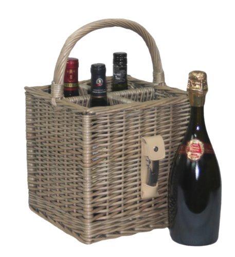Weidenkorb für vier Flaschen, Geschenkkorb mit Korkenzieher und Flaschenöffner, mit Henkel, im antiken Look -