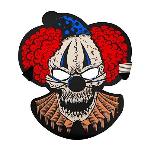 SCLMJ Halloween 3D Horror Maske Sound Aktiviert Schädel Clown Vollgesichts Die Sound Reaktiv Led Maske, B (Bemalen Halloween-schädel Gesicht Für)