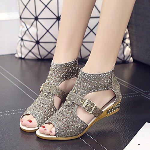 Sandalen und Damenschuhe, hohe ausgehöhlte Sandalen, die Ferse des Reißverschlusses, Golden, Forty Sandalen und Damenschuhe, hohe ausgehöhlte Sandalen, die Ferse des Reißverschlusses, Golden, Forty (Goldene Sandale Die)