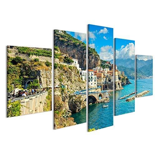 islandburner Cuadro Cuadros Hermosa Bahía y Famoso Complejo de Amalfi, Región de Campania, Italia, Europa Sobre Lienzo Formato Grande Listo para Colgar estupendo