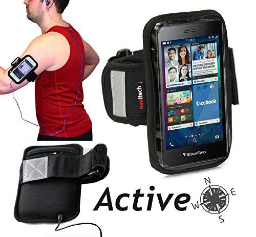 Navitech wasserdicht Schwarz Sport / Fitness / Jogging / Radfahren / Skifahren Armband Tasche Oberarmtasche Schutz Hülle Etui Case für das Sony Z5 Compact / HTC Desire 526G Dual Sim / HTC Desire 626G