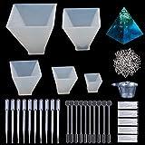 Molde de Joyas Silicona 145 PC, 5 pirámide de Forma Molde Silicona,tornillo Pins la Resina Moldes,plásticas disponibles,agitadores,cuentagotas,guantes disponibles para Collar arcilla polimérica