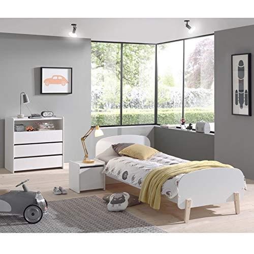 Lomadox Möbel-Set aus Kiefer massiv für Jugend Schlafzimmer - in weiß lackiert (Jugend-möbel Schlafzimmer-sets)
