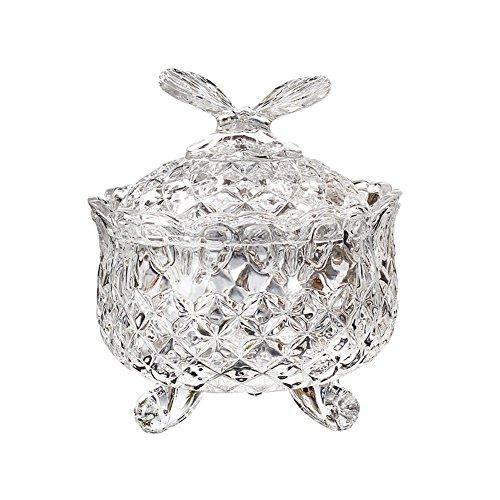 whchiy transparent Glas CANDY Auflaufform mit Deckel Schmetterling Form Griff Candy Jar Box
