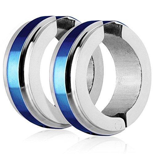 Bungsa® Blau Creolen mit Edelstahl Mittelring und Clipverschluss - 1 Paar (Ohrstecker Ohrringe Ohrhänger Creolen Ohrschmuck Ohrklemmen Damen Frauen Herren Mode Silber Studs)