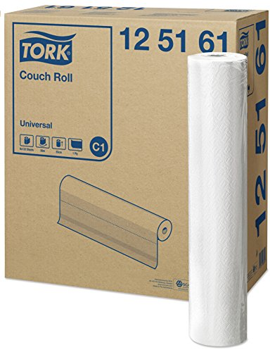 Tork 125161 Papel para camilla Universal de 1 capa compatible con el sistema de rollos de camilla C1, blanco, 8 rollos x 50.16 metros, 38 x 55 cm (L x A) x servicio