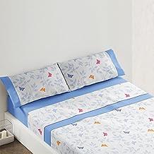 Burrito Blanco - Juego de Sábanas Franela 548 para cama 150x190/200 cm, color azul